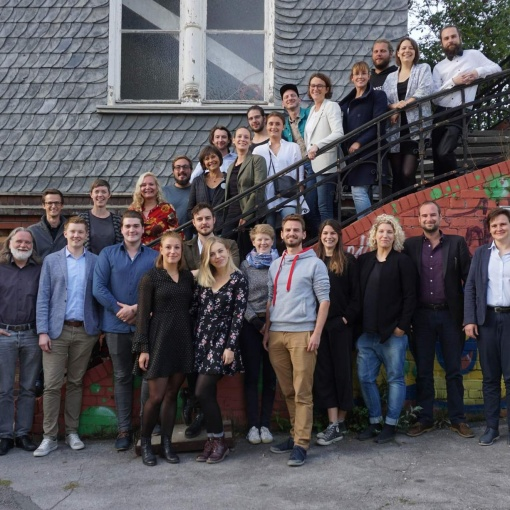 A photo of the SDE21 team at Utopiastadt.