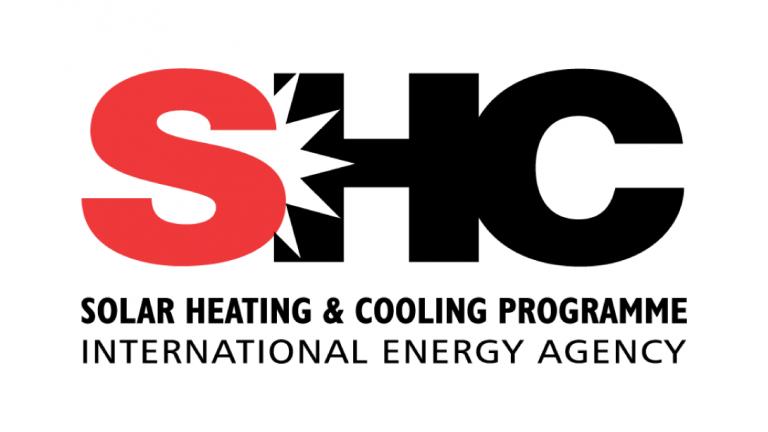 Logo of logo Solar Heating and Cooling (SHC).