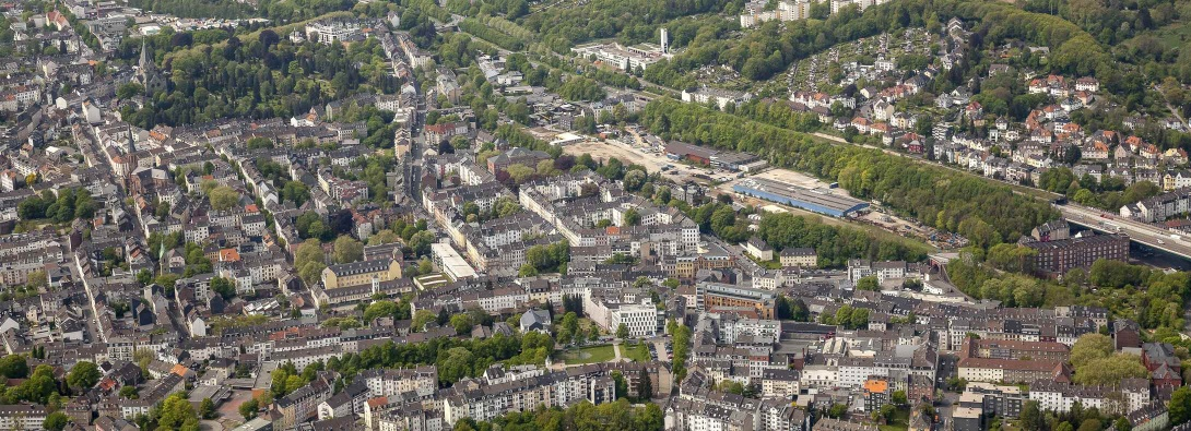 Wuppertal in an overview of a drone panorama